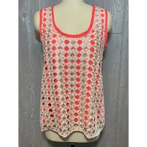 Anthropologie Deletta Coral & Gold Sequins Top L